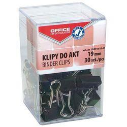 Klipy do dokumentów OFFICE PRODUCTS, 19mm, 30szt., w pudełku, czarne