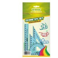 Pozostałe artykuły szkolne, Zestaw geometryczny 4 el. z linijką 16cm CRICCO