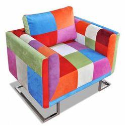 Klubowy fotel patchwork z chromowaną podstawą - Torno