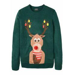Sweter męski z bożonarodzeniowym motywem bonprix głęboki zielony