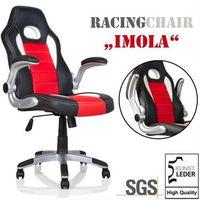 Fotele dla graczy, SPORTOWY FOTEL BIUROWY GABINETOWY IMOLA DLA GRACZA - czarny / czerwony / biały 40040276 (-25%)