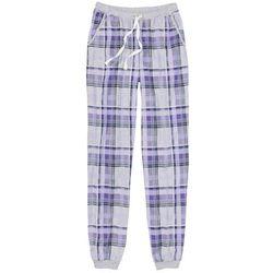 Spodnie do spania ze ściągaczem bonprix jasnoszary melanż - bez w kratę