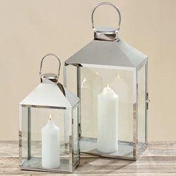Stylowe, srebrne lampiony ze stali nierdzewnej komplet
