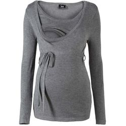 Sweter ciążowy i do karmienia bonprix szary melanż
