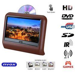 "NVOX VR9917THD BR Monitor dotykowy samochodowy zagłówkowy LCD 9"" cali LED HD DVD USB SD IR FM GRY 12V"