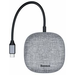 Baseus 7w1 wielofunkcyjny HUB USB 3.0, czytnik kart pamięci, zewnętrzna karta sieciowa (USB, USB Typ C PD, RJ45, HDMI, SD, micro SD) szary (CAHUB-DX0G)