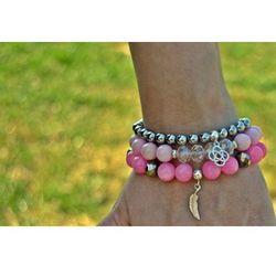 Bransoletki z różowych kamieni, hematytu i srebra
