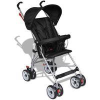 Wózki spacerowe, vidaXL Wózek spacerowy dla dziecka czarny Darmowa wysyłka i zwroty