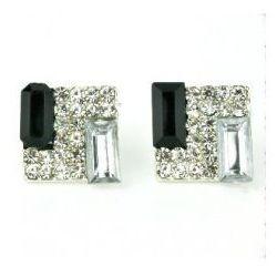 Kolczyki kwadrat z kryształkami. Kolekcja Orchidea