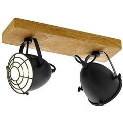 Listwa Eglo Gatebeck 49077 kinkiet lampa ścienna sufitowa 2x40W E14 czarna/drewno