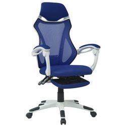 vidaXL Krzesło biurowe z odchylanym oparciem i podnóżkiem, biało-niebieskie Darmowa wysyłka i zwroty