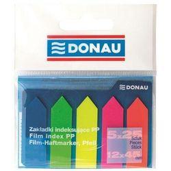 Zakładki indeksujące DONAU, PP, 12x45mm, strzałka, 5x25 kart., mix kolorów