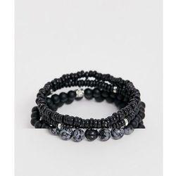 ASOS DESIGN beaded bracelet pack in black with semi precious stones - Black