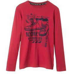 Shirt z długim rękawem bonprix ciemnoczerwony z nadrukiem