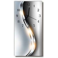 Zegary, Zegar Szklany Pionowy Nowoczesny Metal metalowy srebrny