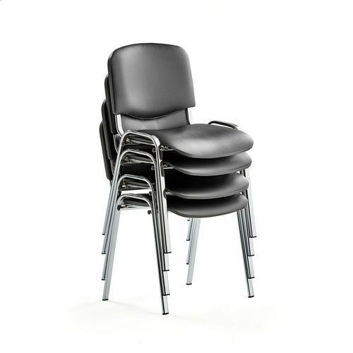 Fotele i krzesła biurowe, Krzesło konferencyjne NELSON, 4 szt., skai, chrom
