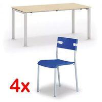 Pozostałe meble biurowe, Stół konferencyjny AIR 1600 x 800 mm, brzoza + 4x krzesło LINDY GRATIS, niebieski