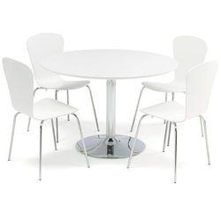 Zestaw mebli do stołówki, stół Ø1100 mm, biały, chrom + 4 białe krzesła