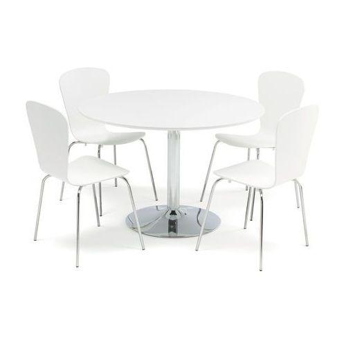 Meble do restauracji i kawiarni, Zestaw mebli do stołówki, stół Ø1100 mm, biały, chrom + 4 białe krzesła