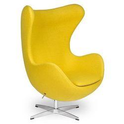 Żółty Fotel JAJO Wełna Naturalna Inspirowany Projektem Egg Chair | Sklep z meblami DesignTown