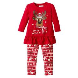 Shirt bożonarodzeniowy + legginsy (2 części) bonprix czerwony
