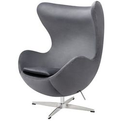 Fotel inspirowany JAJO CLASSIC VELVET ciemny szary - welur, podstawa chromowana