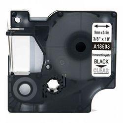 Taśma DYMO Rhino 18508 poliestrowa 9mm x 5.5m przeźroczysta czarny nadruk - zamiennik