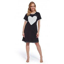 Koszula nocna ciążowa i do karmienia Czarna serce Wanilia Napy