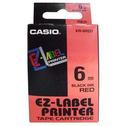 Casio oryginalny taśma do drukarek etykiet, Casio, XR-6RD1, czarny druk/czerwony podkład, nielaminowany, 8m, 6mm