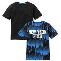 Koszulki z krótkim rękawkiem dziecięce, T-shirt (2 szt.) bonprix lodowy niebieski z nadrukiem + czarny