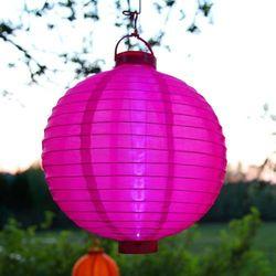 Lampion solarny LED Jerrit - jaskrawy róż