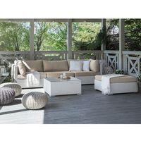 Zestawy ogrodowe, Meble ogrodowe białe - rattanowe - sofa rattanowa - SANO II