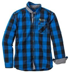 Koszula z długim rękawem Slim Fit bonprix lazurowy w kratę