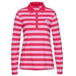 Shirt polo bonprix różowy hibiskus - jasnoróżowy w paski