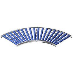 Lekki przenośnik rolkowy, rama aluminiowa i rolki z tworzywa,szer. taśmy 600 mm, łuk 90°