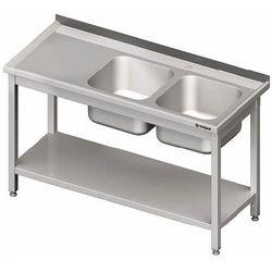 Stół ze zlewem dwukomorowym z prawej strony z półką 1600x700x850 mm | STALGAST, 980827160