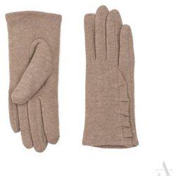 Ocieplane rękawiczki damskie z falbanką beżowe - beżowy SZALIKI, CZAPKI, RĘKAWICZKI (-20%)