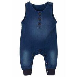 """Kombinezon dresowy niemowlęcy w optyce dżinsowego bonprix niebieski """"stone"""" z nadrukiem"""