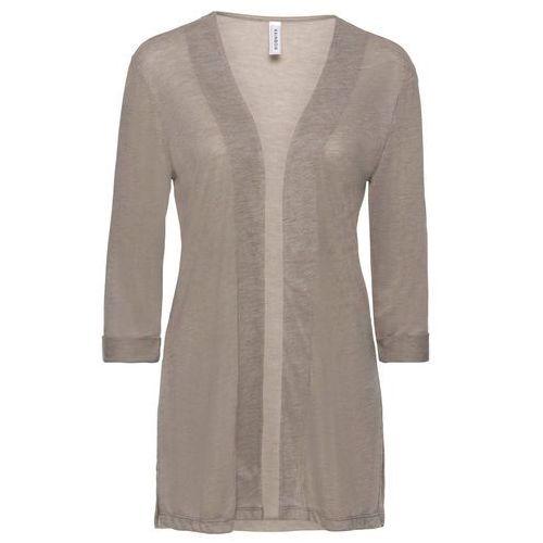 Bluzki, Shirt dzianinowy bez zapięcia, z rozporkami bonprix brunatno-biel wełny melanż