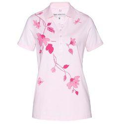 Shirt polo bonprix bladoróżowo-matowy różowy z nadrukiem
