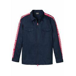 Koszula z długim rękawem i zapięciem na zamek Slim Fit bonprix ciemnoniebiesko-czerwony