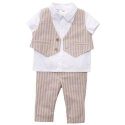 Koszula niemowlęca + kamizelka + spodnie (3 części) bonprix beżowy migdałowy - biały