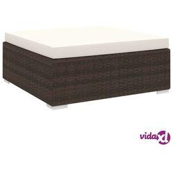 vidaXL Podnóżek do mebli modułowych, z poduszką, polirattan, brązowy Darmowa wysyłka i zwroty
