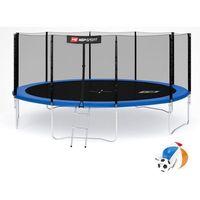 Trampoliny, Trampolina ogrodowa 16ft (488cm) z siatką zewnętrzną Hop-Sport - 4 nogi - 488 cm \ niebieski