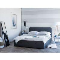 Łóżka, Łóżko ciemnoszare tapicerowane podnoszony pojemnik 180 x 200 cm RENNES