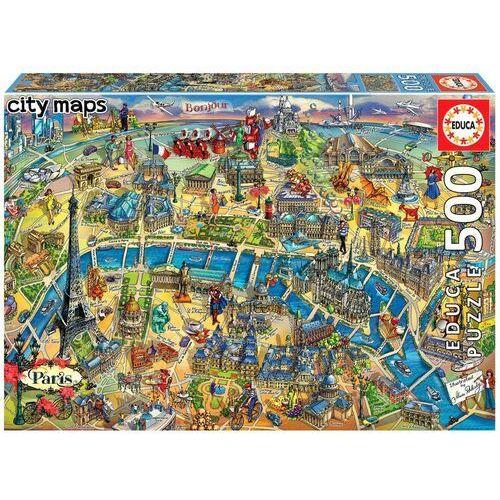 Puzzle, Puzzle 500 Elementów Mapa Paryża