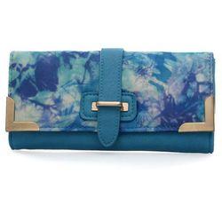 Niebieski portfel damski z kolorowym nadrukiem - niebieski   kolorowy Kolorowe portfele (-25%)