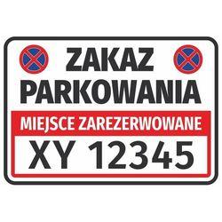 Naklejka miejsce zarezerwowane, zakaz parkowania, z polem na nr rejestracyjny pojazdu