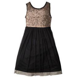 Sukienka na party, z cekinami bonprix czarno-czerwone złoto