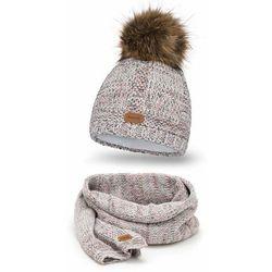 Komplet damski na zimę PaMaMi, czapka i komin - Biały